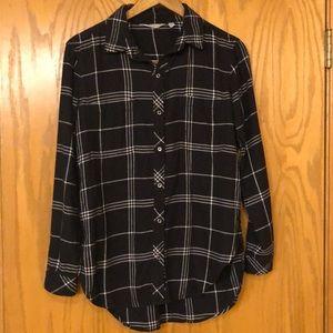 Athleta black & white soft flannel shirt